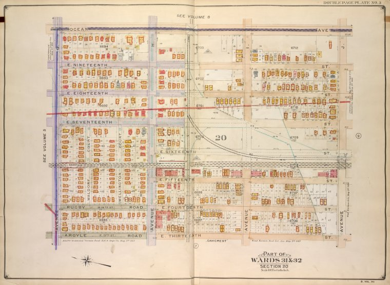 Brooklyn, Vol. 7, Double Page Plate No. 3; Part of Wards 31 & 32, Section 20; [Map bounded by Ocean Ave., Avenue J, E. 13th St.; Including Argyle Road, Avenue G]