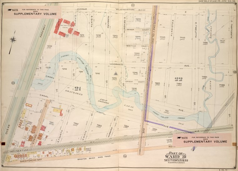 Brooklyn, Vol. 7, Double Page Plate No. 36; Part of Ward 31, Sections 21 & 22; [Map bounded by Avenue Z, E. 13th St.; Including Sheepshead Bay Road, Ocean Parkway]
