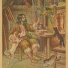 Robinson Crusoe in his cabin with animal friends]