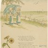 Two girls with parasols by the shore.]