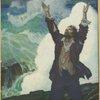 Robinson Crusoe before an angry sea]