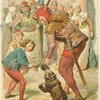 Eulenspiegel and bear perform before the king and townspeople]