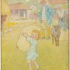 Little boy carrying bag of wool.]