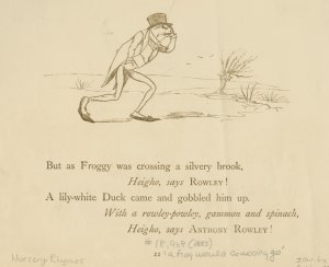 But as Froggy was crossing a silvery brook...a lily-white duck came and gobbled him up.