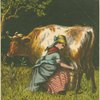 Forlorn maiden milking the cow with the crumpled horn.]
