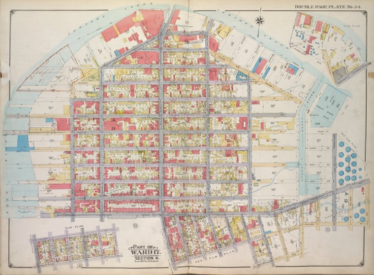 Brooklyn, Vol. 1, 2nd Part, Double Page Plate No. 34; Part of Ward 17, Section 9; [Map bounded by Newtown Creek, N. Henry St., Calyer St., Humboldt St., Meserole Ave.; Including Diamond St., Calyer St., Manhattan Ave., Greenpoint Ave., East River.]; Sub Plan No. 1 [Map bounded by Newtown Creek, Greenpoint Ave., Kingsland Ave.]; Sub Plan No. 2 [Map bounded by Calyer St., Diamond St., Meserole Ave., Manhattan St.]