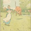 Milkmaid and cows in the field.]