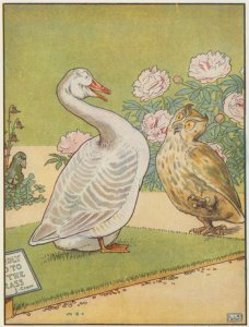 [Owl and goose talking.]