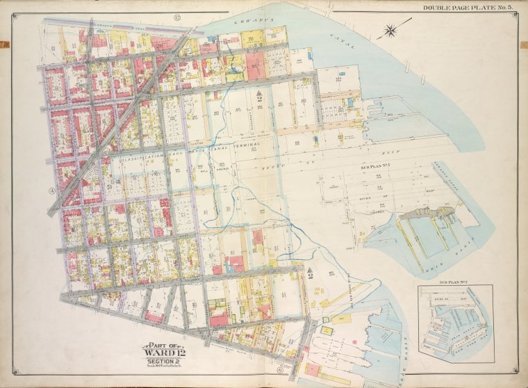 Brooklyn, Vol. 1, Double Page Plate No. 5; Part of Ward 12, Section 2; [Map bounded by Gowanus Canal, Henry St. Slip, Halleck St., Erie Basin; Including Beard St., Dwight St., Nelson St., 7th St.]; Sub Plan no. 1 [Map bounded by Henry St., Gowanus Canal, Haleck St.; Including Hicks St., Bay St.]; Sub Plan no. 2 [Map bounded by Henry St., Gowanus Canal, Van Brunt St.; Including Beard St., Halleck St.]