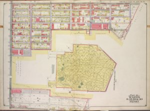 Brooklyn, Vol. 1, Double Page Plate No. 11; Part of Wards 8, 22, 29 & 30, Section 3; [Map bounded by Prospect Ave., 11th Ave., Terrace Pl., Gravesend Ave., 20th St.; Including 7th Ave., 23rd St., 6th Ave., 24th St., 5th Ave.]; and [Map bounded by 36th St., 7th Ave., 37th Ave.; Including 9th Ave., 39th St., 5th Ave.]; Sub Plan [Map bounded by 20th St., Gravesend Ave., Fort Hamilton, 37th St., 7th Ave, 36th St., 4th Ave.; Including 34th St., 5th Ave., 25th St., 4th Ave., 23rd St., 7th Ave.]