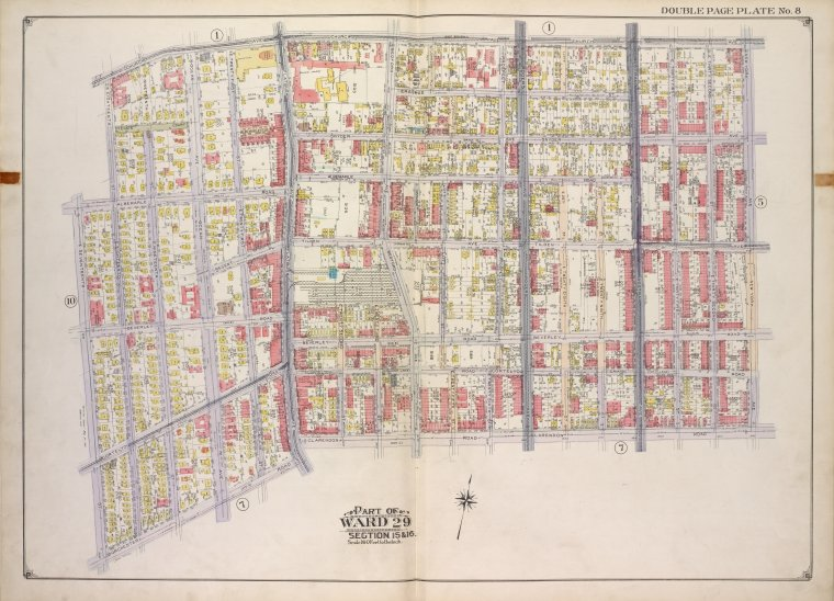 Brooklyn, Vol. 2, Double Page Plate No. 8; Part of Ward 29, Sections 15 & 16; [Map bounded by Church Ave., New York Ave., Clarendon Road; Including Dorchester Road, E. 17th St., E. 18th St.]