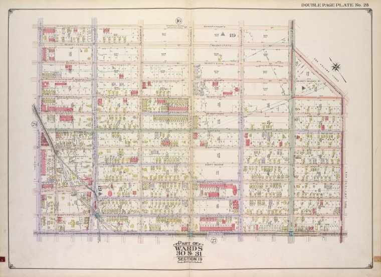 Brooklyn, Vol. 2, Double Page Plate No. 25; Part of Wards 30 & 31 Section 19; [Map bounded by 74th St., 22nd Ave., Stillwell Ave.; Including 23rd Ave., 86th St., 17th Ave.]