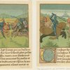 Illustrations of Palamedes in the tournament of Soreloys and Lancelot and Tristan in the tournament at Louvezep, from the Roman de Tristan.