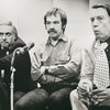 Hillard Elkins (producer), Jacques Levy (director), and Kenneth Tynan (creator) discussing Oh! Calcutta!