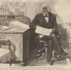[Portrait of Frederick Douglass seated at desk holding newspaper from Harper's Weekly.]