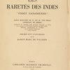 "Les raretés des Indes: ""Codex canadiensis"", [Title page]"