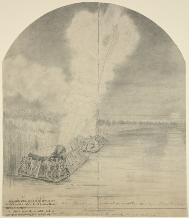 This is What Henri Lovie and Siege of Island no. 10. Bombardment at night mortars Kentucky shore Looked Like  on 3/18/1862