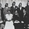 75th Jubilee Anniversary, Jackson State College: Arna Bontemps, Melvin B. Tolson, Jackson State College President Jacob Redick, Owen Dodson, Robert Hayden, Sterling Brown, Zora Neale Hurston, Margaret Walker, and Langston Hughes.