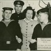 Ethel Merman with service men after performing at Stage Door Canteen (New York City).
