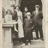 Lew Fields and family in front of their New York City home: Dorothy, Mr. Fields, Miss Frances, Mrs. Fields, Herbert, and Joseph.