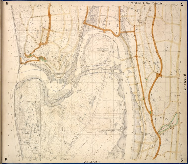 This is What New York and Bronx Topographical Map Sheet 5; [Map bounded by Morkison St. Johnson Ave. Riverdale Ave. Ackerman St. Church St. Broadway Macomb St. Albany Road Bailas Ave. Heath Ave. Boston Ave. Sedgwick Ave.; Including Tee-Taw Ave. Aqueduct Ave. Hampden Looked Like  in 1873