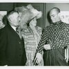 [Yul Brynner (The King) with Pearly Queen, Beck Matthews backstage at The King and I]