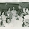 [Celeste Holm (Anna Leonowens replacement) backstage at The King and I with a group of fans]