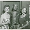 [Gertrude Lawrence (Anna Leonowens), Yul Brynner (The King) and Helen Hayes backstage at The King and I]