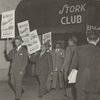 Politicians Herbert L. Bruce (2nd from left) and Hulan Jack (3rd from left) and lawyer Thurgood Marshall (2nd from right) marching with NAACP picketers outside the Stork Club in New York City, on October 26, 1951, to protest discriminatory treatment of entertainer Josephine Baker.