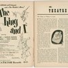 [Program (dated 5/28/1951) for The King and I]