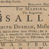 Ad: For Madeira, The Brigantine Sally, Joseph Durham, Master, will sail in about three weeks.