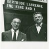 Richard Rodgers (music) and Oscar Hammerstein II (lyrics) standing in front of the St. James Theatre marquee for The King and I