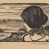 Woman's head; seashore in background]