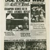 """Joe Louis Wins"" - front page featuring Louis's victory in rematch with German boxer Max Schmeling"