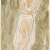 Isadora Duncan (enface, one arm across herself, one knee slightly bent, white tunic)