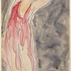 Isadora Duncan (left side of frame, arms above and back, crimson to pink tunic)