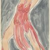 Isadora Duncan (lunging right to left efface, arms thrown back,  dark pink tunic)