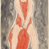 Isadora Duncan (standing center enface, legs apart, arms down, bright red tunic)