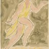 Isadora Duncan (skipping left to right, right leg lifted, yellow tunic)