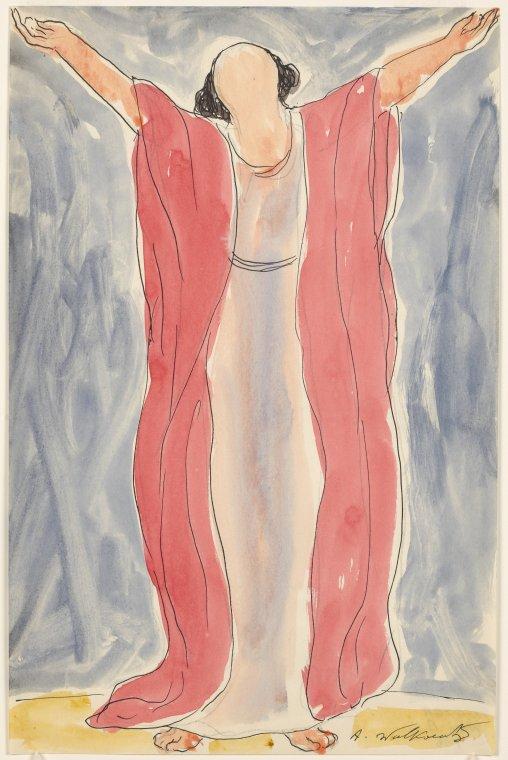 Isadora Duncan (standing center enface, arms head up, blue/pinkish tunic, dark pink robe)