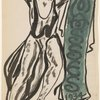 Isadora Duncan (moving left to right, left foot lifted, arms up and outward, no color on tunic, heavy black brush strokes, green banner to the right and behind with letters and 1934)