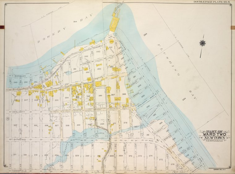 Queens, Vol. 2A, Double Page Plate No. 5; Part of Ward Two Newtown. [Map bounded by Bowery Bay, Flushing Bay; Including Mansfield Ave., 28th St.]