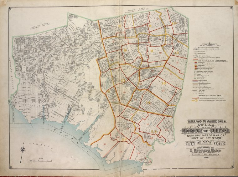 Index map to Volume One A. Atlas of the Borough of Queens Easterly part of Jamaica part of 4th Ward city of New York. Published by E. Belcher Hyde, 5 Beekman St., Manhattan, 97 Liberty St., Brooklyn. 1918.