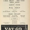 [Program for the 1961 revival of Pal Joey]