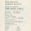 [Program for the 1964 revival of The King and I]