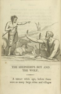 The shepherd's boy and the wolf.