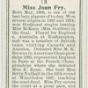 Miss Joan Fry, (Gt. Britain).