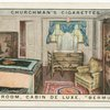 "Bedroom, cabin de luxe suite.  Furness Withy Motorship ""Bermuda."""