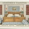 "Bedroom, private suite.  Canadian Pacific Liner ""Empress of Australia."""