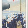 Hoisting the ensign (H.M.S. Warsprite).